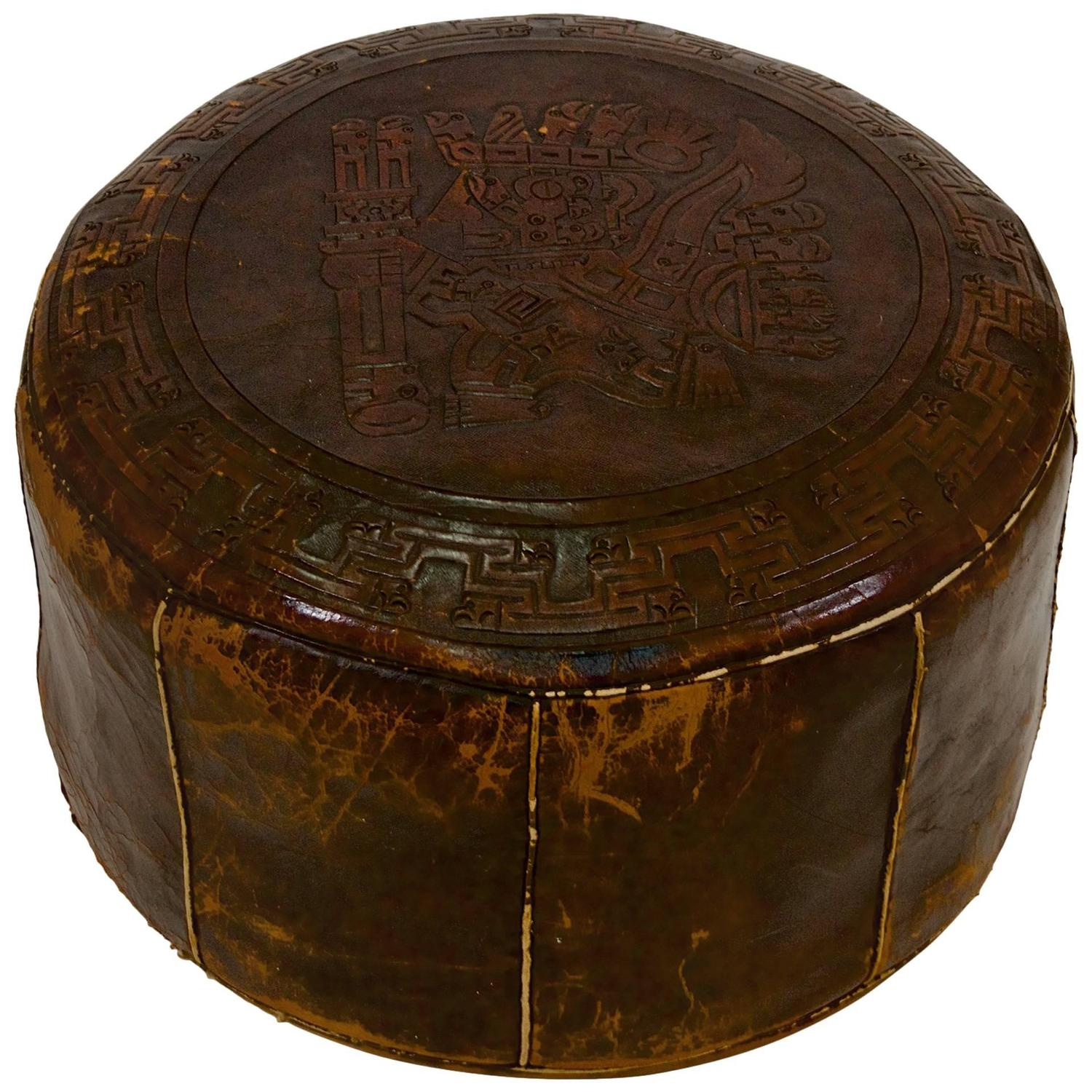 Peruvian leather pouf for sale at 1stdibs