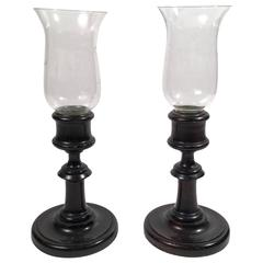 Pair of Candlesticks or Photophores with Glass Hurricane Shades