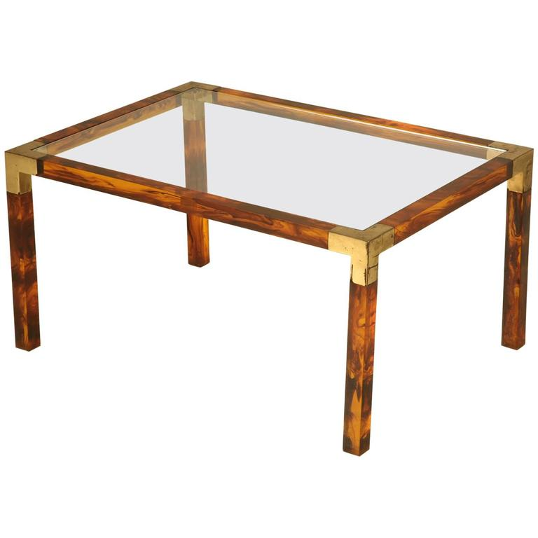 French Faux Tortoise Shell Coffee Table, circa 1960s