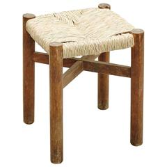 Charlotte Perriand Wood and Rattan Stool for Meribel, circa 1950