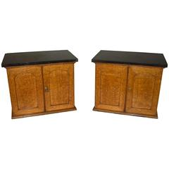 19th Century Pair of Golden Oak Table Cabinets