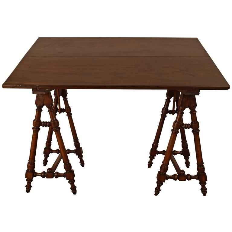 Italian Walnut And Rosewood Tall Adjustable Drafting Table, 19th Century 1