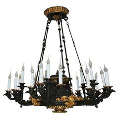 Palatial French Empire Doré Bronze and Patinated Neoclassical Chandelier Fixture