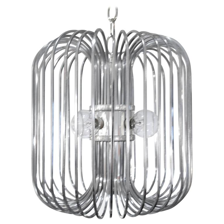 Sciolari Chrome Birdcage Chandelier For Sale