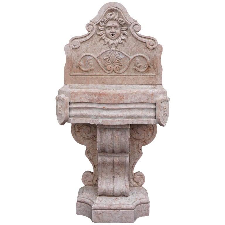 19th Century Renaissance Style Marble Italian Wall Fountain For Sale