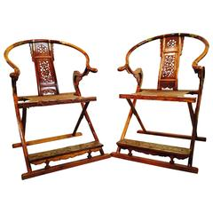 Pair of Well Preserved Hunting Chairs