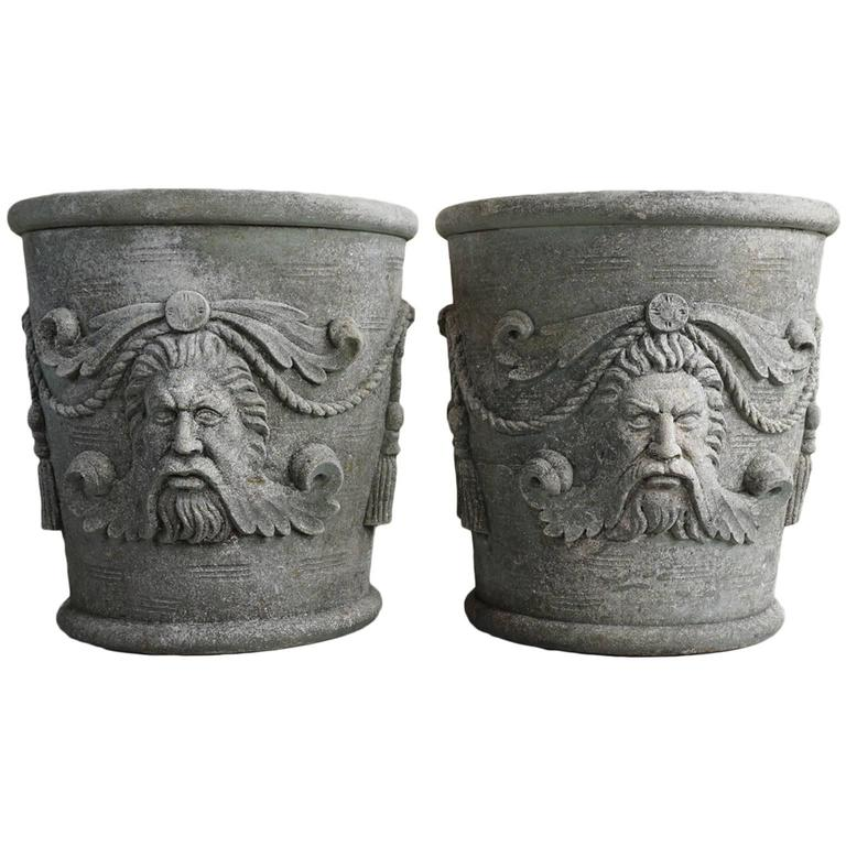 A Pair of Exceptional Italian Limestone Jardinieres with Masks