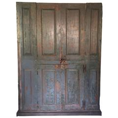 18th Century Blind Door Large Hudson Valley Cupboard with Original Blue Paint