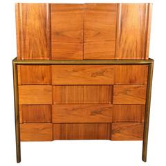Edmond J. Spence Tall Chest, Walnut and Carved Beech, Sweden, 1950s