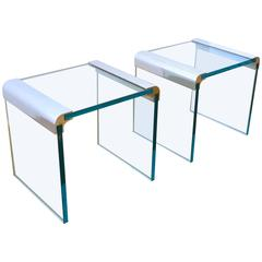 Pair of Leon Rosen for Pace Collection Glass Side or End Tables