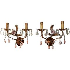 French Tole Beaded Porcelain Roses Pink Sconces