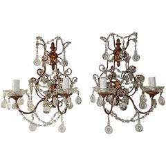 French Macaroni Swags Clear Murano Balls Sconces