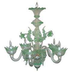 Vintage Murano Glass Chandelier of Murano Crystal with Green Accents