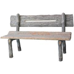 19th Century French Faux Bois Cement Garden Bench