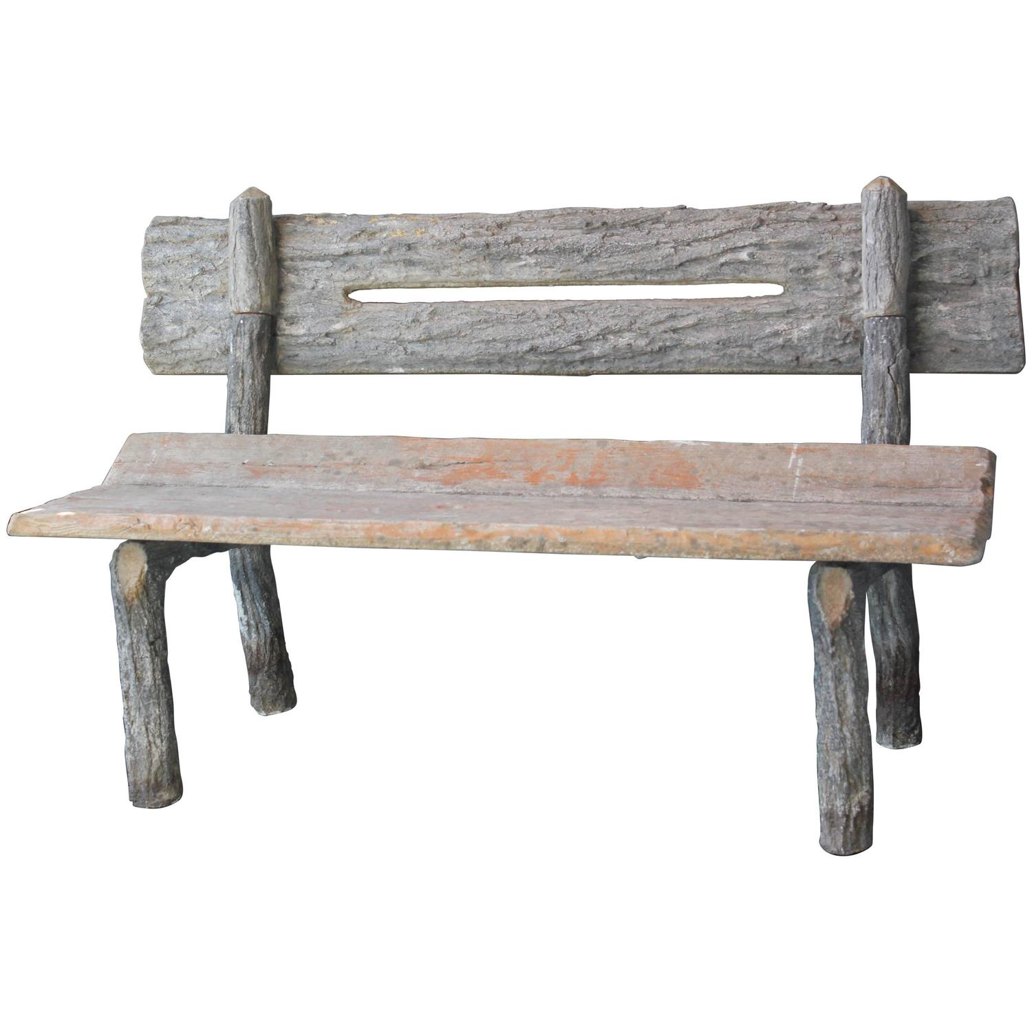 19th Century French Faux Bois Cement Garden Bench For Sale At 1stdibs