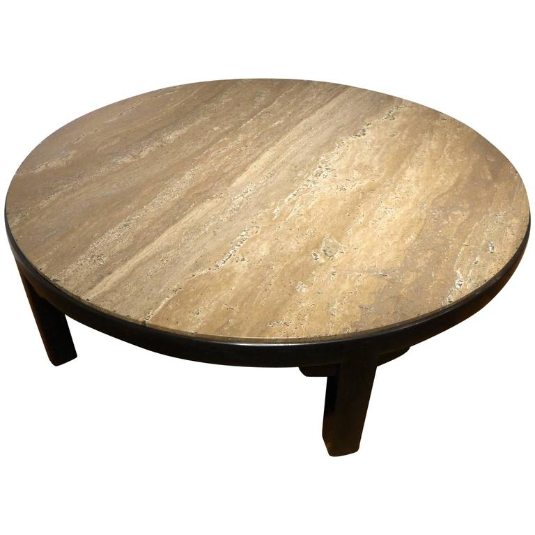 Edward Wormley Cocktail Table with Travertine Top For Sale