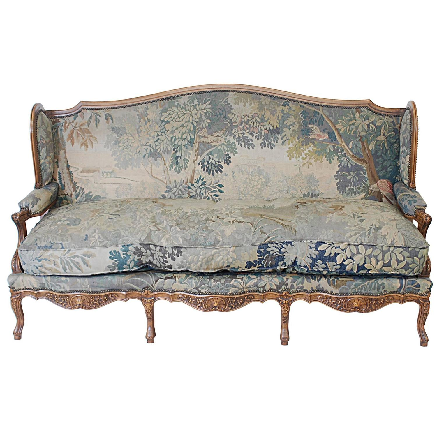 Louis xv style flemish canape at 1stdibs for Canape style louis xv