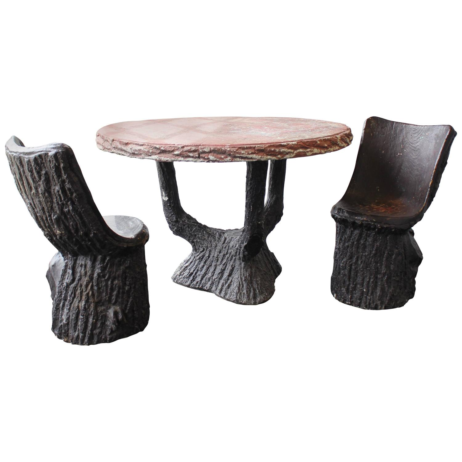 19th Century French Faux Bois Cement Garden Table and Chairs For