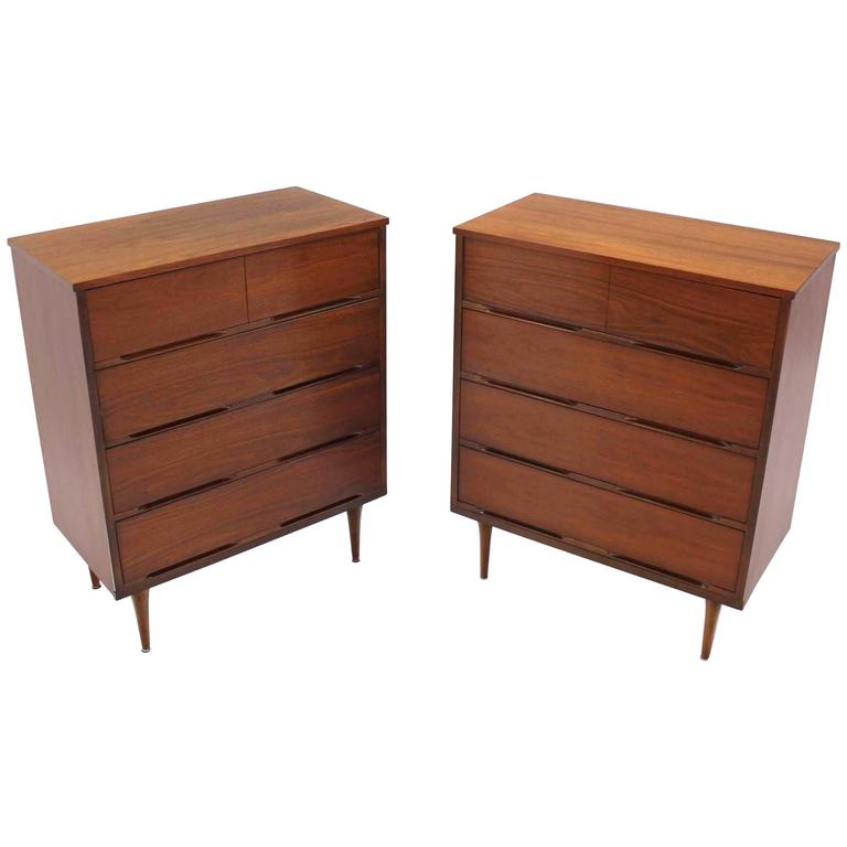 Pair of Danish Modern Walnut High Chests For Sale