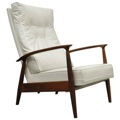 Milo Baughman for James Inc Thayer Coggin Sculpted Walnut Recliner Lounge Chair