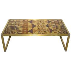 1970s Italian Art Deco Abstract Design Brass Coffee/Sofa Table with Gold Leaf