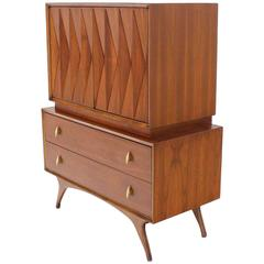 Diamond Pattern Mid-Century Modern Gentlemen's Chest