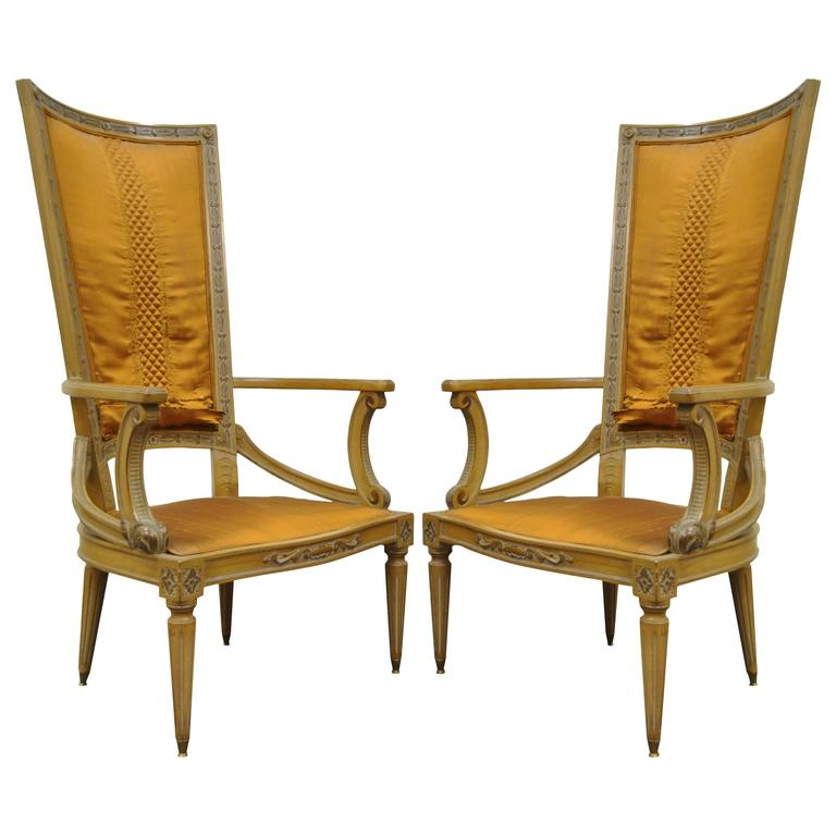 Pair of 1950s Tall Back Hollywood Regency Carved Armchairs After Grosfeld House