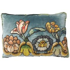 18th Century Petite Applique Lumbar Velvet Decorative Pillow