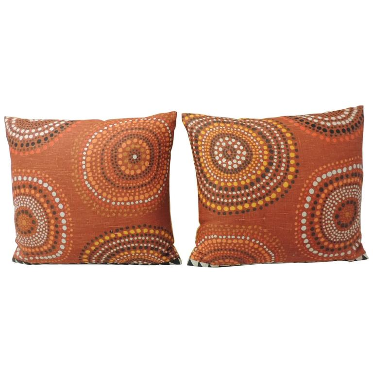 Pair of Orange Mod Design Vintage Linen Decorative Pillows