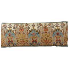 18th Century Kashmir Paisley Silk Embroidered Long Bolster Pillow