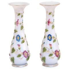 Pair of Superb Antique Baccarat Opaline Vases c1895