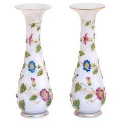 Antique Pair of Baccarat Opaline Vases c1895