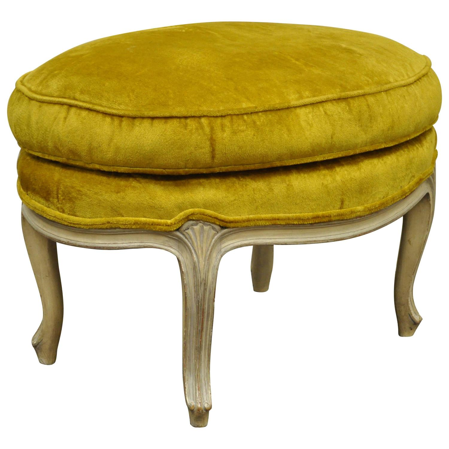 Vintage French Louis XV Style Cream Painted Overstuffed