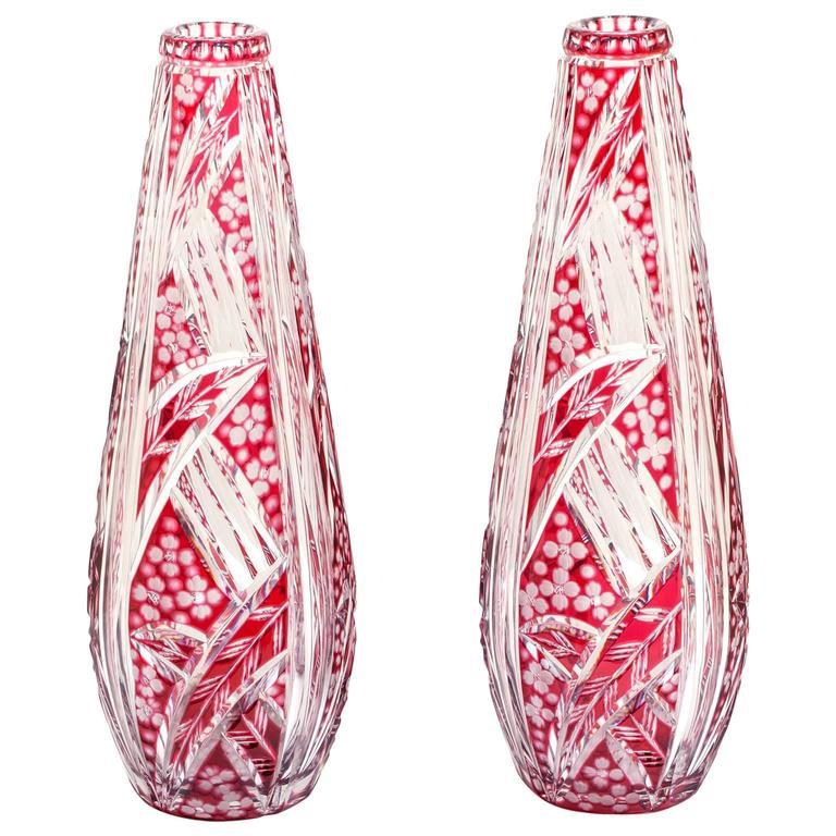 Stunning Pair of Art Deco Saint Louis Vases