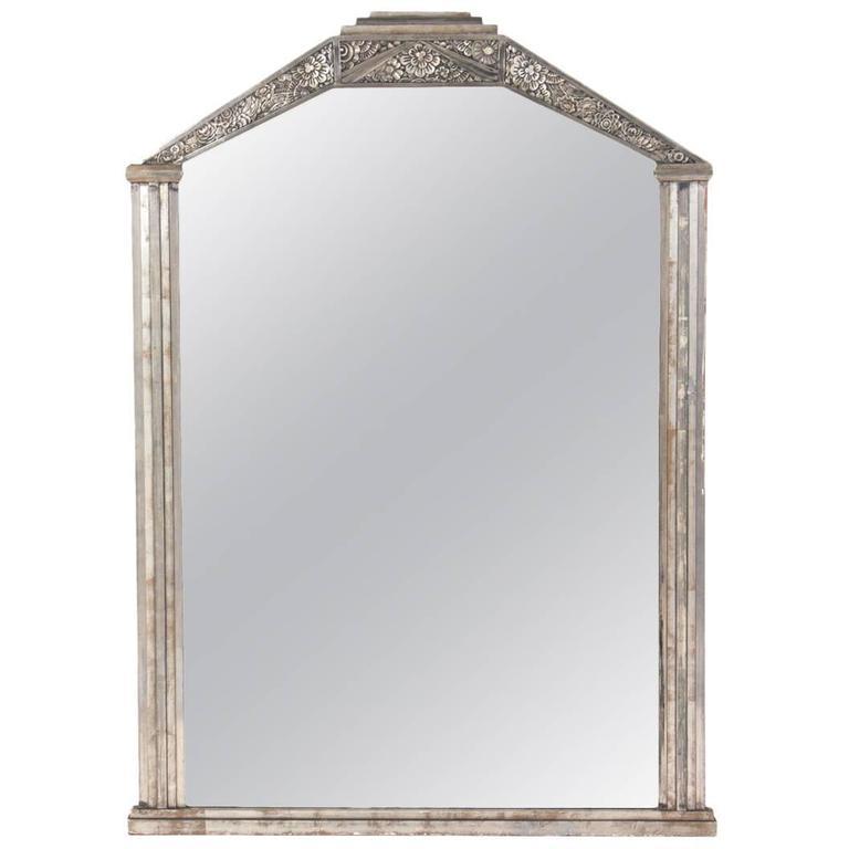 French Art Deco Silver Leaf Mirror