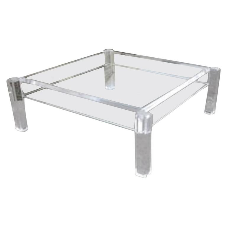 Lucite Coffee Cocktail Table Vintage Mid Century Modern Hollywood