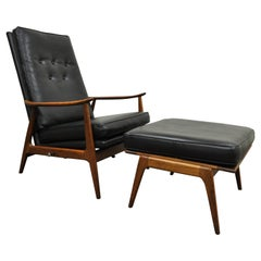Milo Baughman James Inc Thayer Coggin Walnut Reclining Lounge Chair & Ottoman