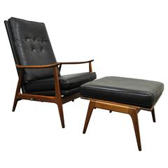 Milo Baughman for James Inc Thayer Coggin Walnut Recliner Lounge Chair & Ottoman