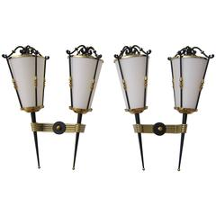 Pair of Lantern 1950s French Wall Sconces