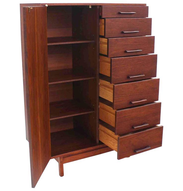 Danish modern oiled walnut chifferobe dresser chest of