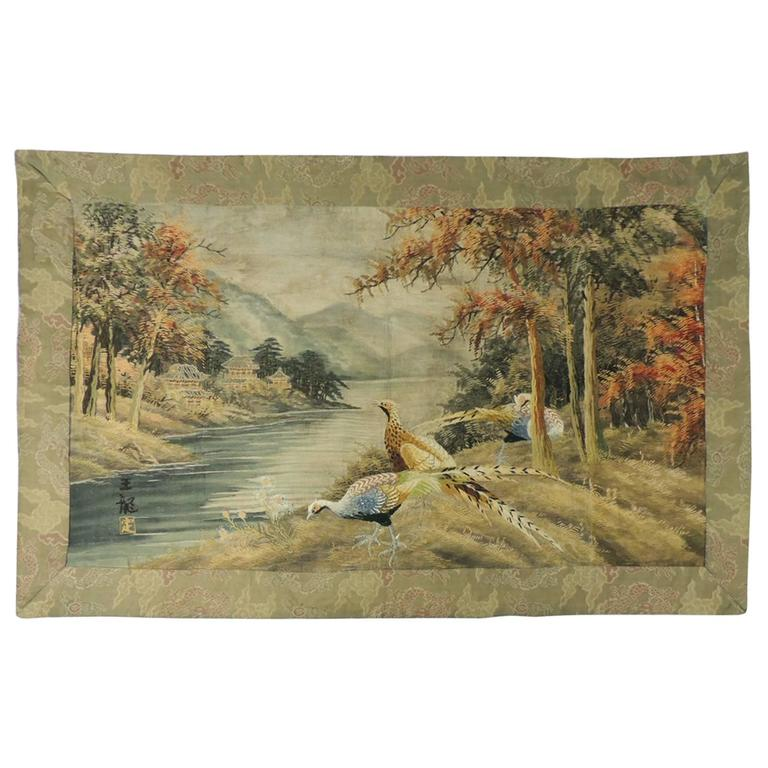 Large Asian Embroidery Scenery Tapestry From Japan