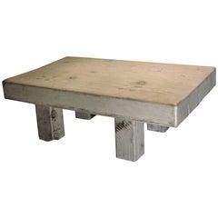 Massive Whitewashed Wood Block Coffee Table