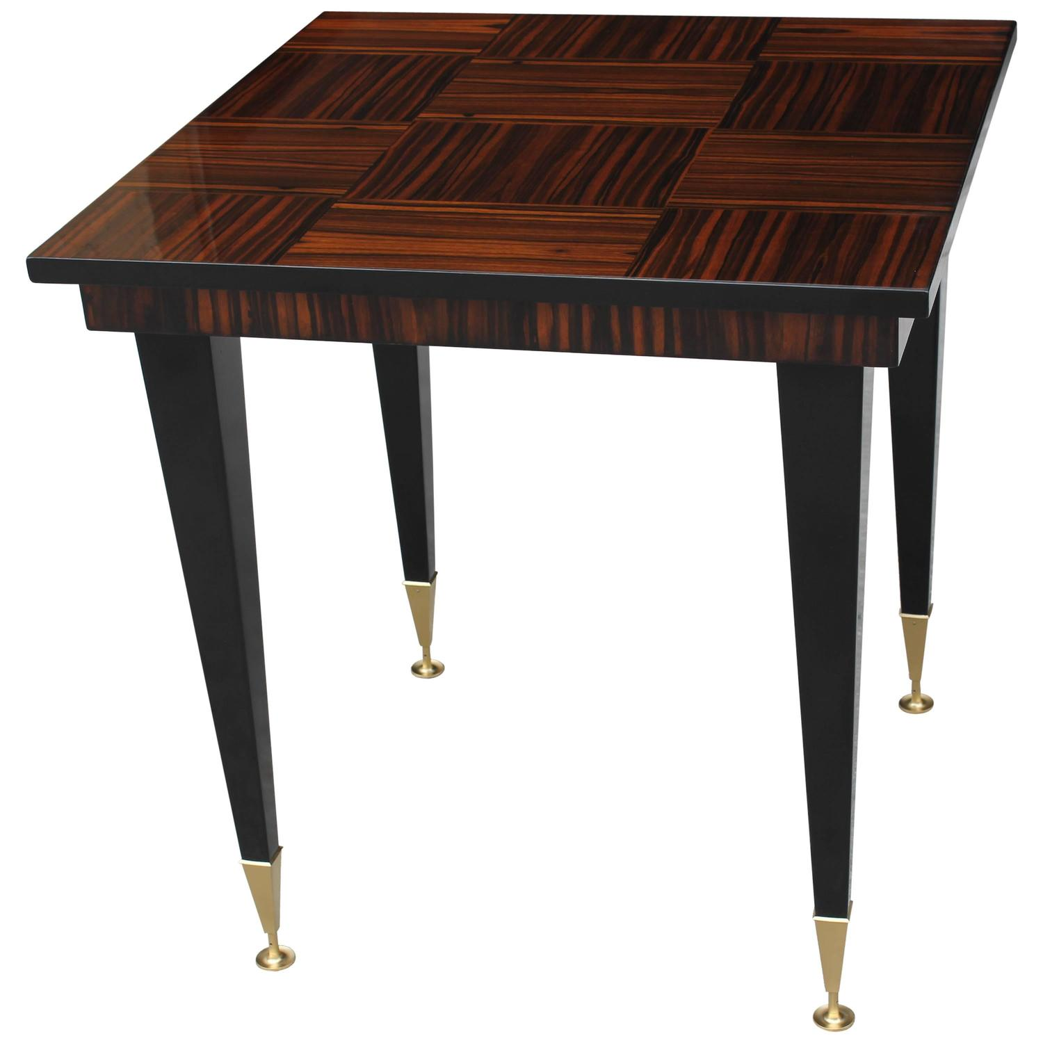 french art deco exotic macassar ebony square game table circa 1940s for sale at 1stdibs. Black Bedroom Furniture Sets. Home Design Ideas