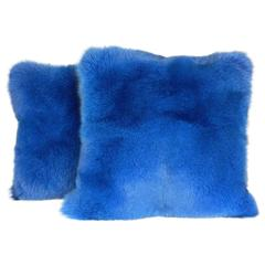 Exquisite Blue Fox Pillow with Italian Cashmere