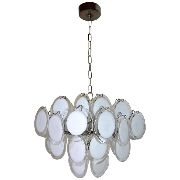 Vistosi Murano Clear and White Disc Chandelier