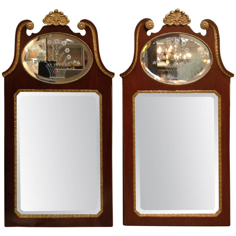 Pair of Mahogany Baker Mirrors from the Stately Homes Collection 1