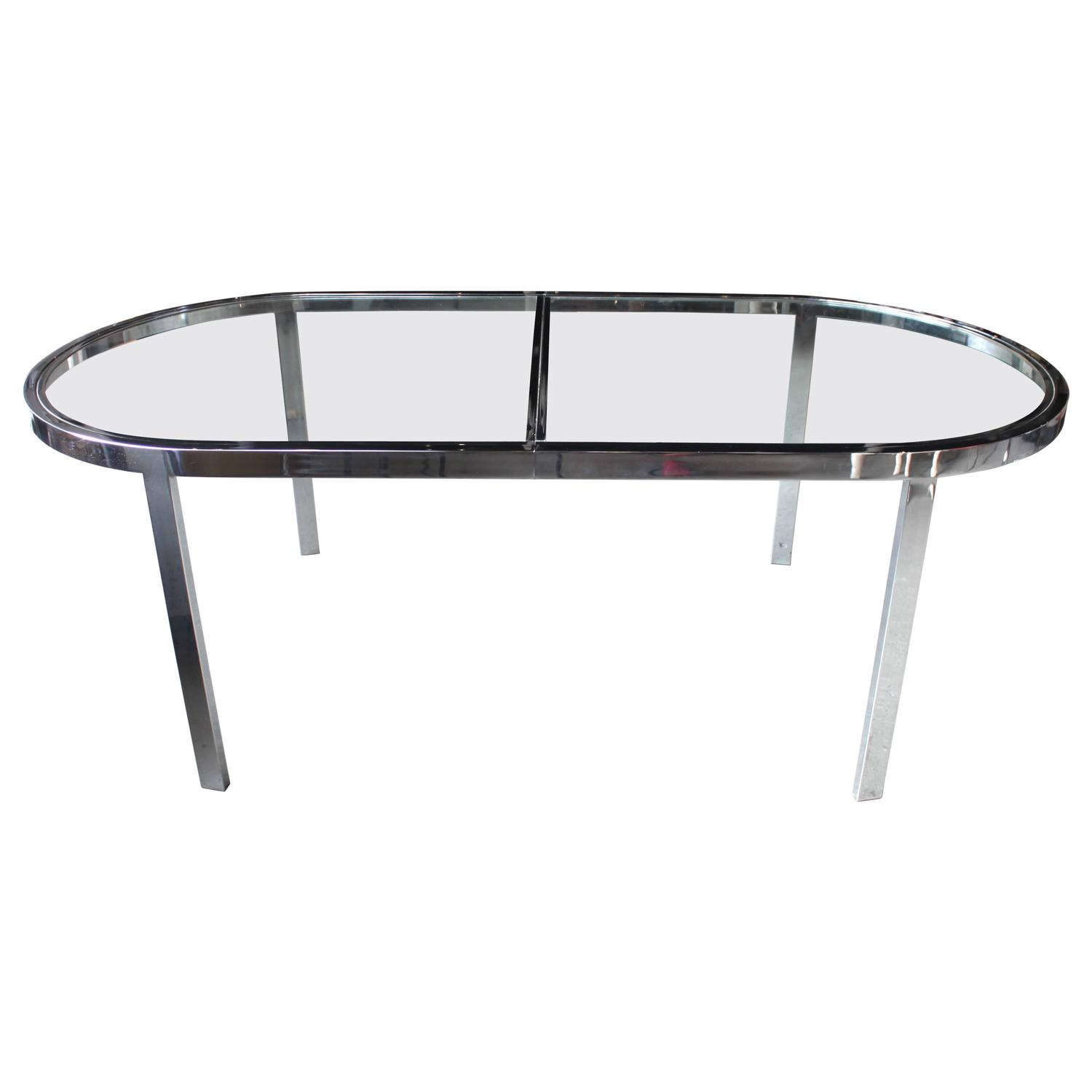 Milo Baughman Chrome And Glass Dining Table With Two Leaves At 1stdibs