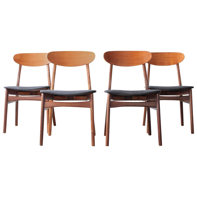 mid century teak dining chairs set of four swedish mid centu