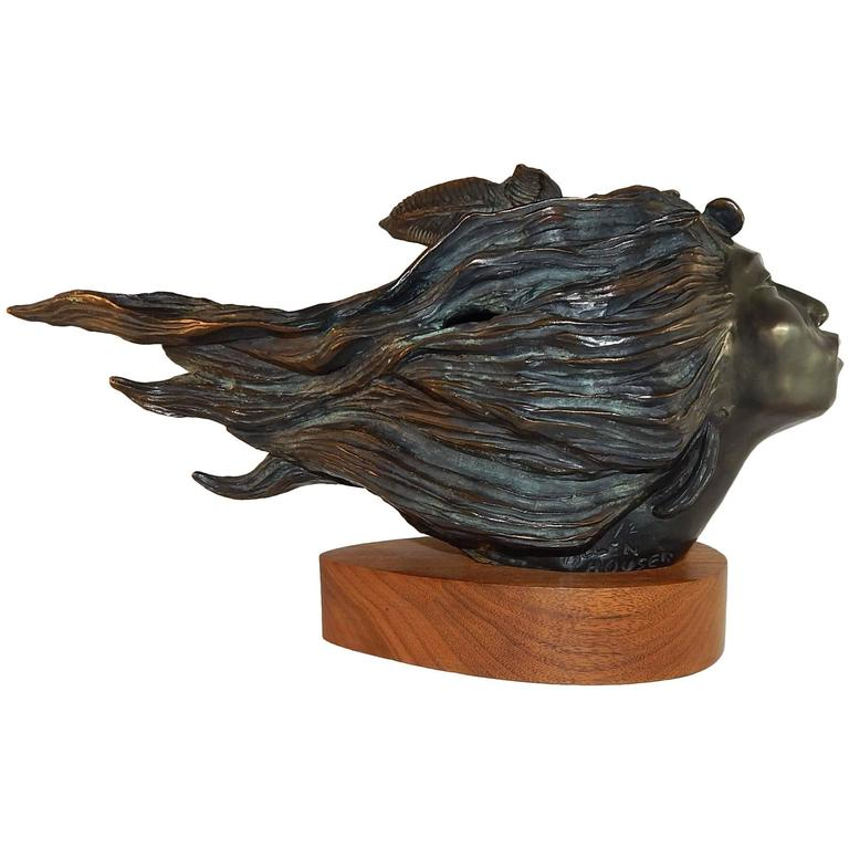 "Allan Houser Bronze Sculpture, 1977, Native American Woman ""Coming of Age"""
