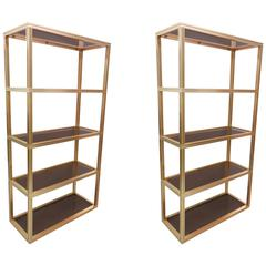 Pair of Brass Ètagerès/Bookcases by Pierre Vandel